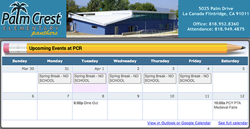 Palm Crest PTA website screenshot